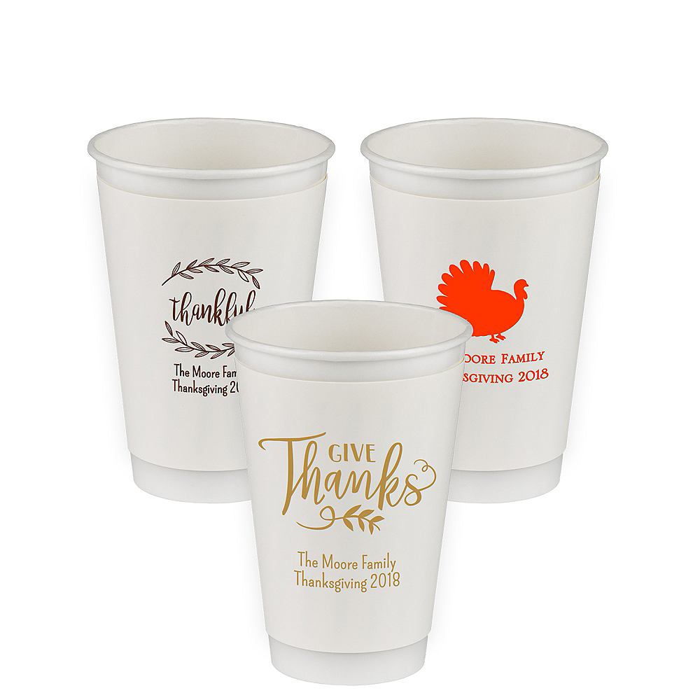 Personalized Thanksgiving Insulated Paper Cups 16oz Image #1