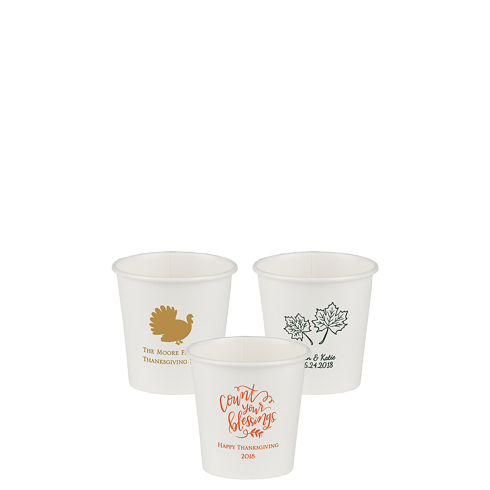 Personalized Thanksgiving Paper Cups 4oz Image #1
