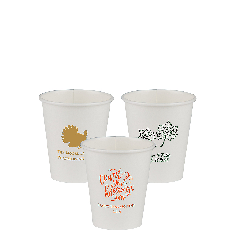 Personalized Thanksgiving Paper Cups 8oz Image #1