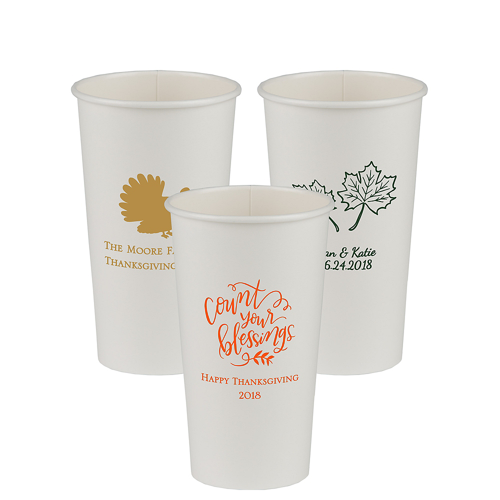 Personalized Thanksgiving Paper Cups 20oz Image #1