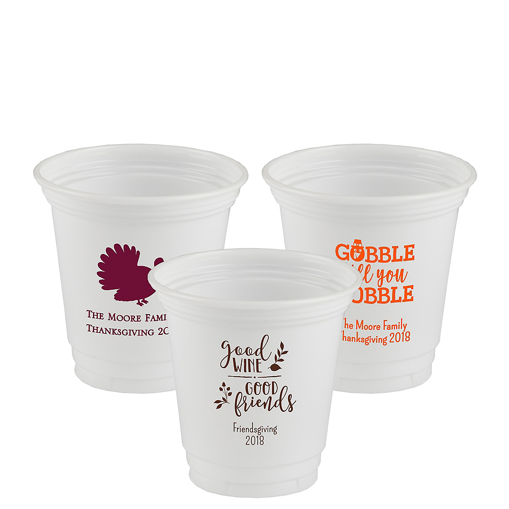 Nav Item for Personalized Thanksgiving Plastic Party Cups 12oz Image #1