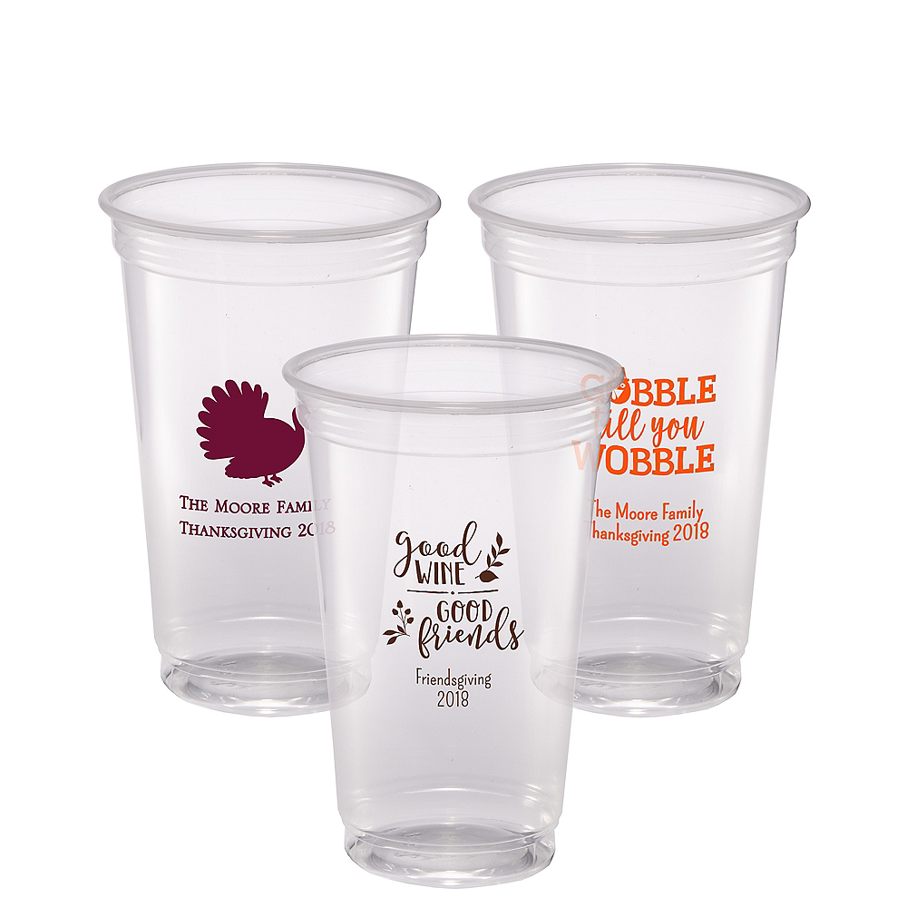 Personalized Thanksgiving Plastic Party Cups 20oz Image #1