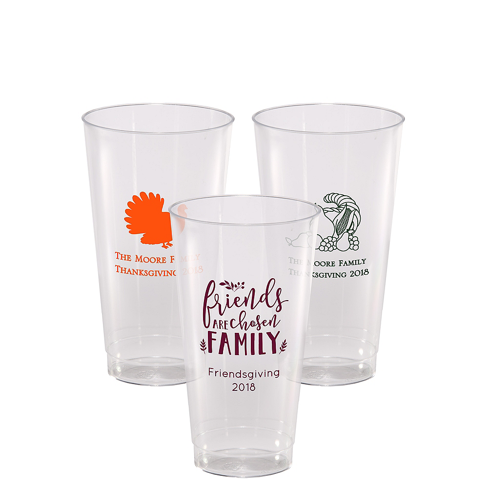 Personalized Thanksgiving Hard Plastic Cups 16oz Image #1