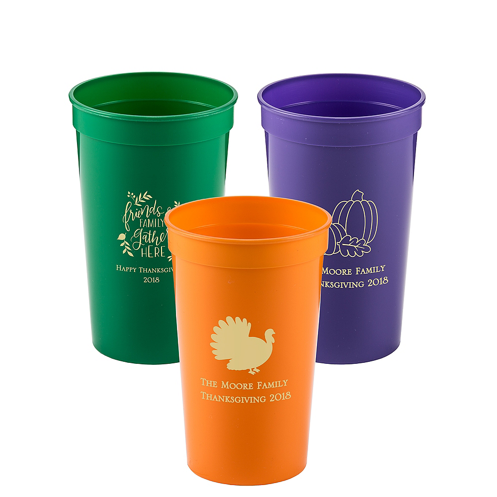 Personalized Thanksgiving Plastic Stadium Cups 22oz Image #1