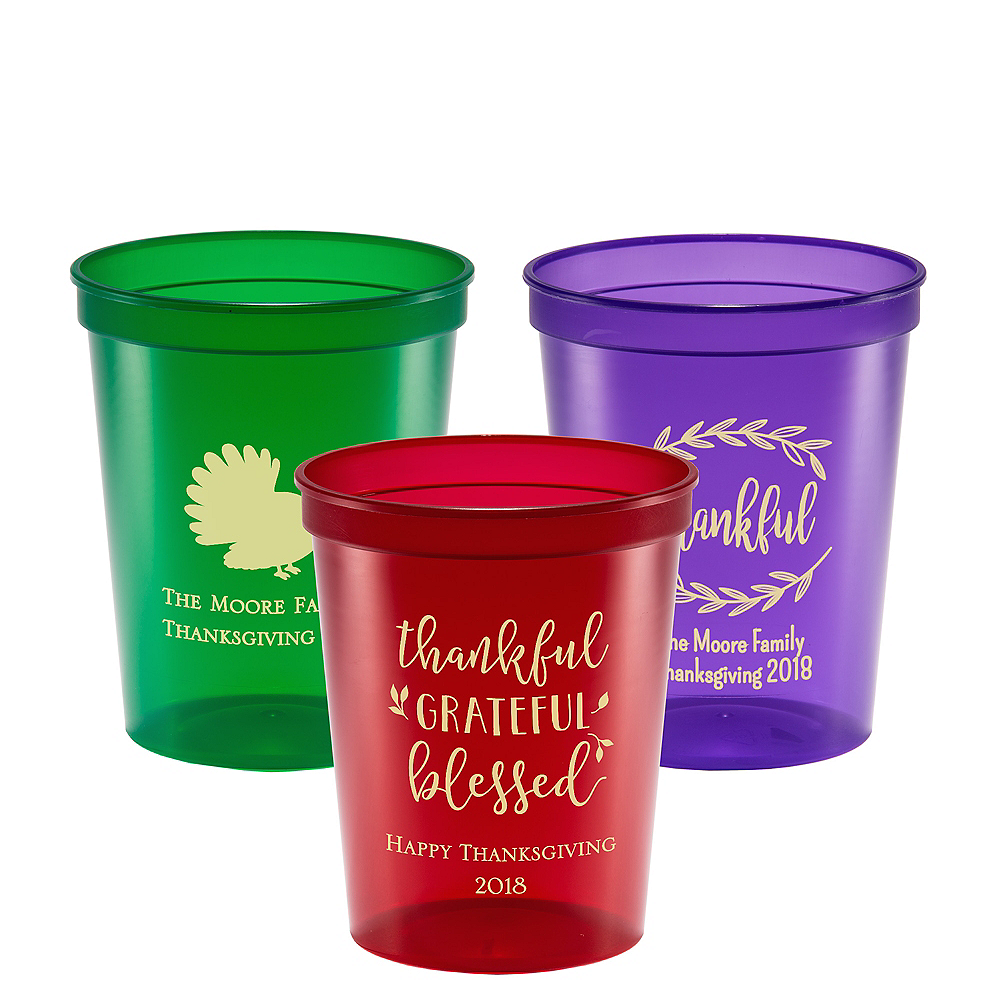Personalized Thanksgiving Translucent Plastic Stadium Cups 16oz Image #1
