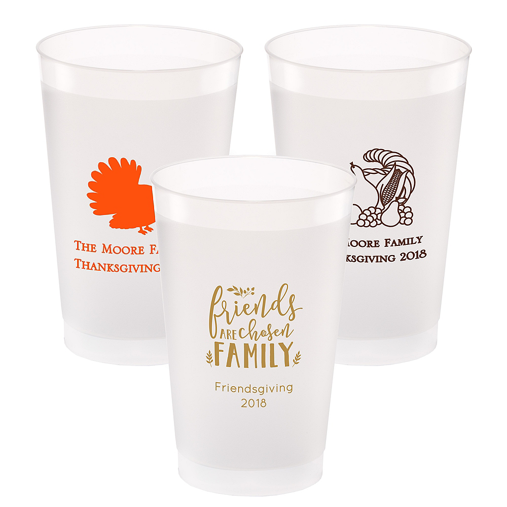 Personalized Thanksgiving Frosted Plastic Shatterproof Cups 24oz Image #1