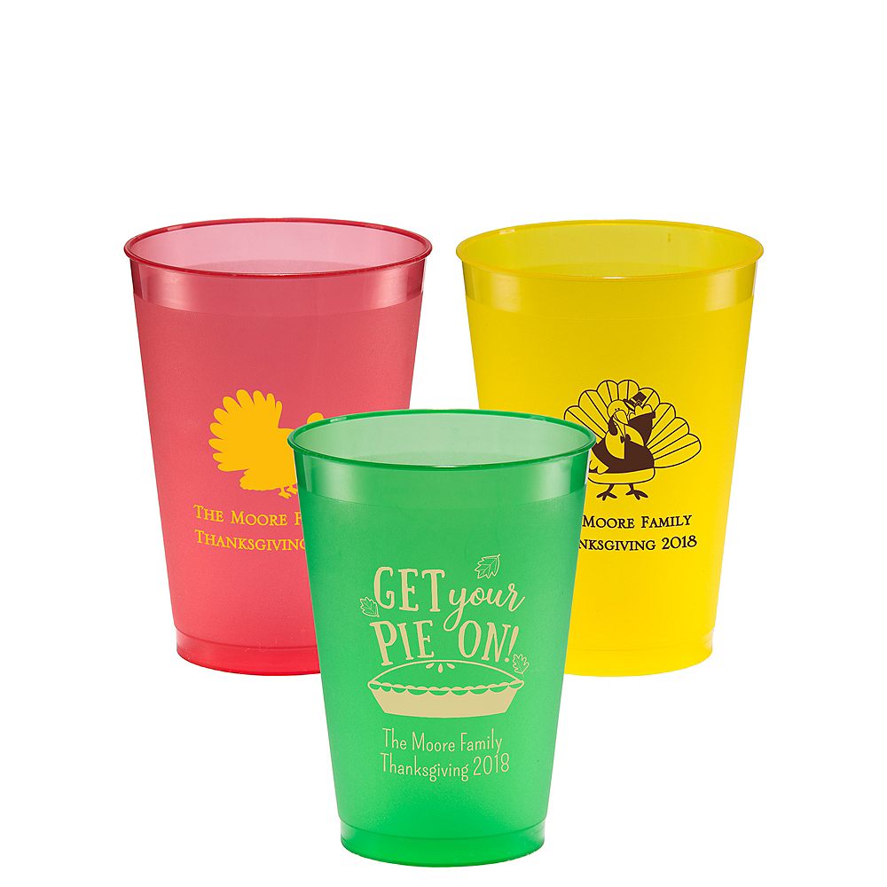 Personalized Thanksgiving Plastic Shatterproof Cups 12oz Image #1
