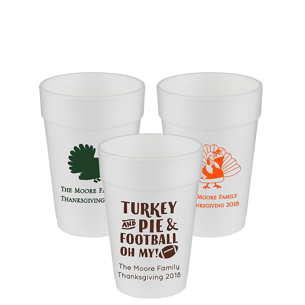 Personalized Thanksgiving Foam Cups 14oz Image #1