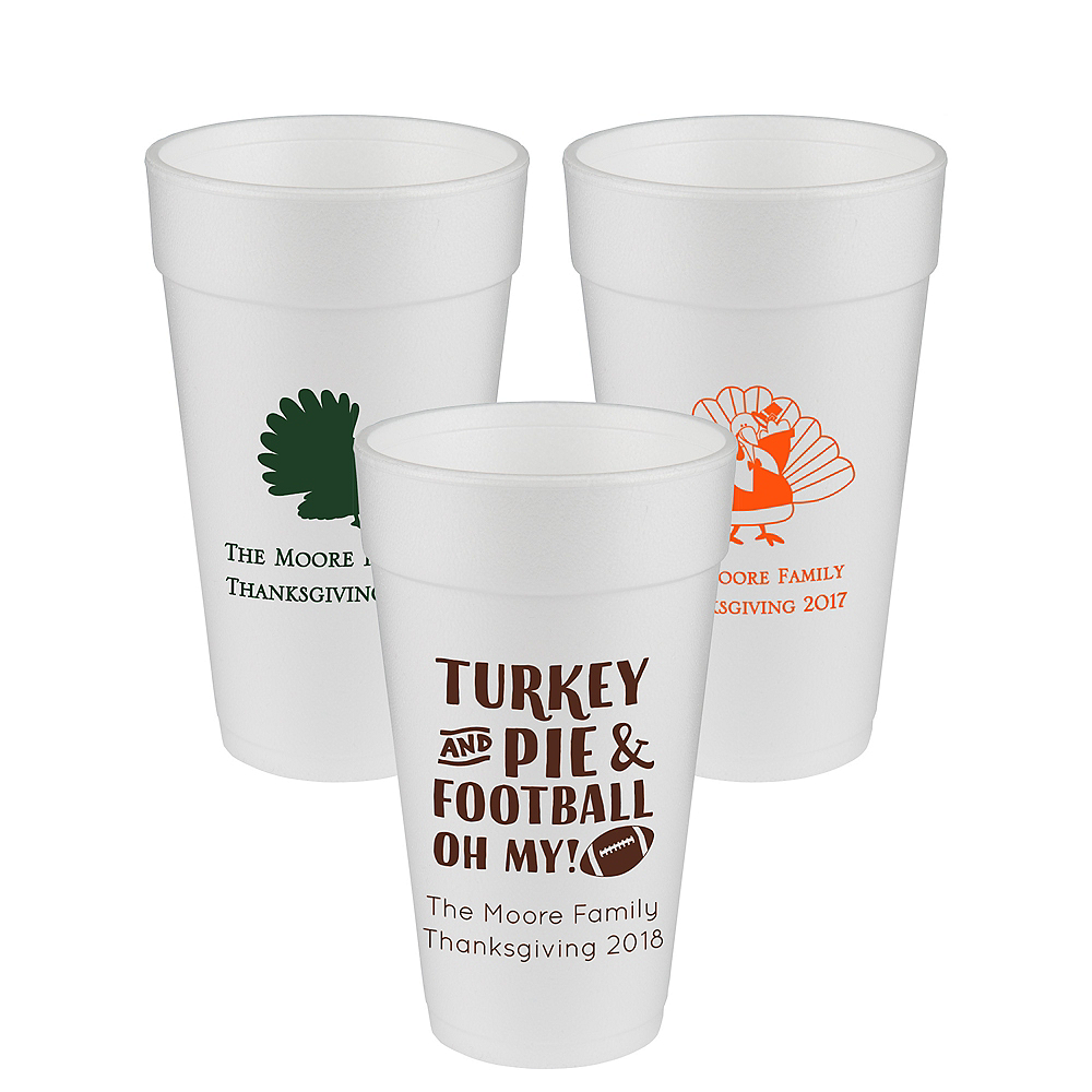 Personalized Thanksgiving Foam Cups 20oz Image #1