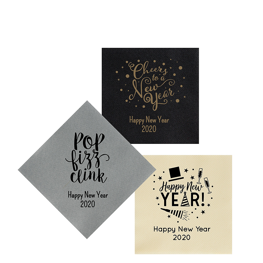 Personalized New Year's Premium Beverage Napkins Image #1