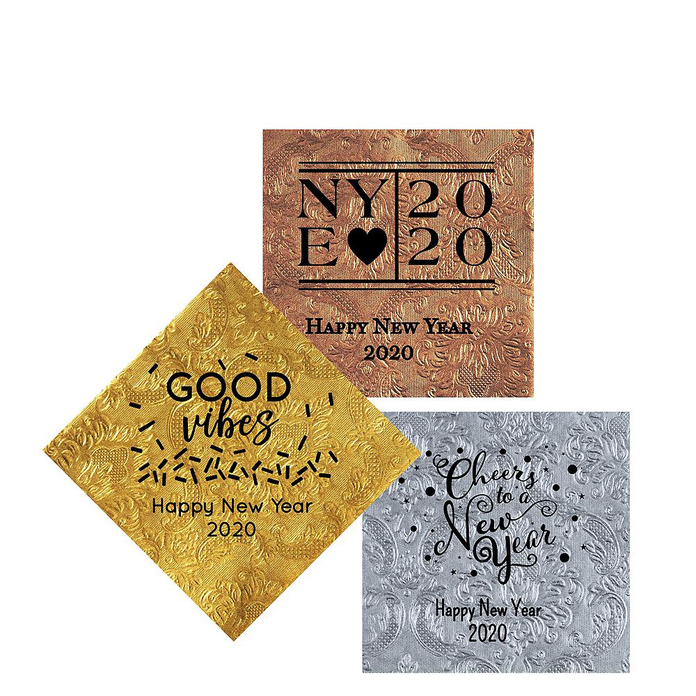 Personalized New Year's Embossed Damask Beverage Napkins Image #1