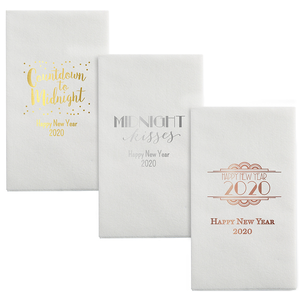 Personalized New Year's Luxury Deville Side-Fold Dinner Napkins Image #1