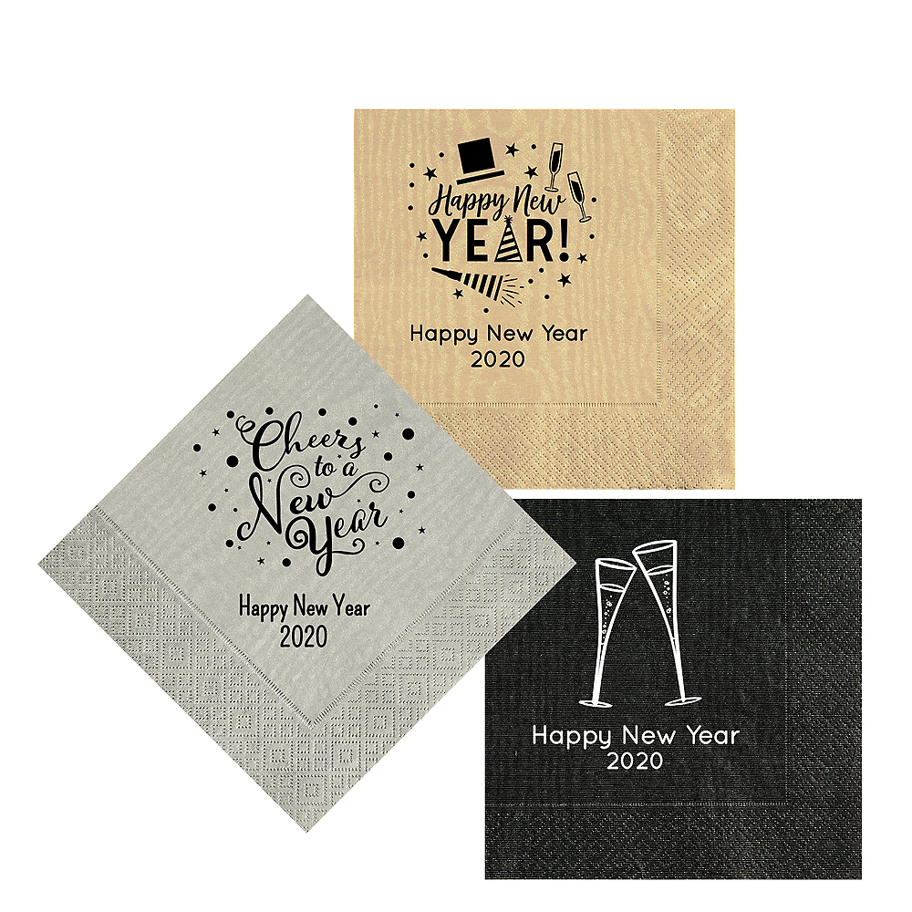 Personalized New Year's Moire Lunch Napkins Image #1