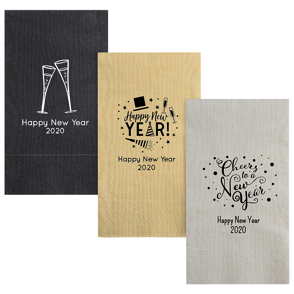 Personalized New Year's Moire Guest Towels Image #1