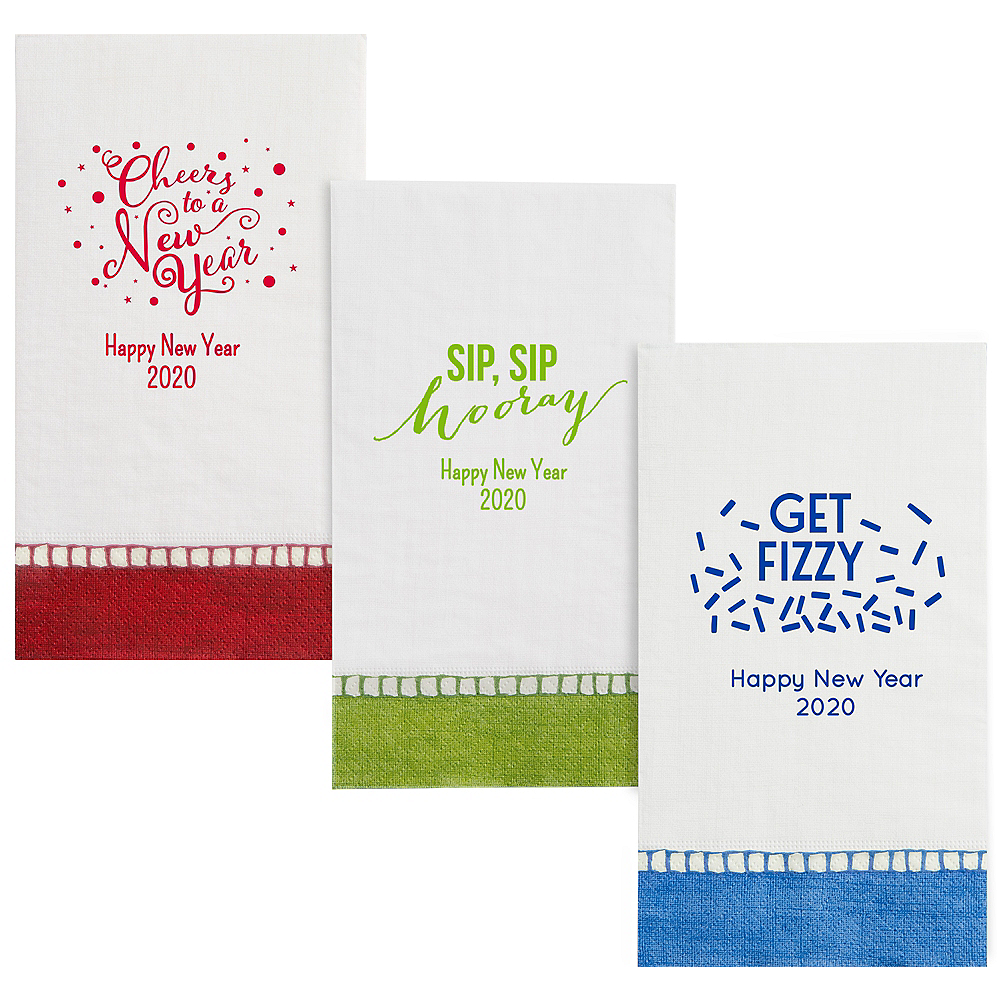 Personalized New Year's Bordered Guest Towels Image #1
