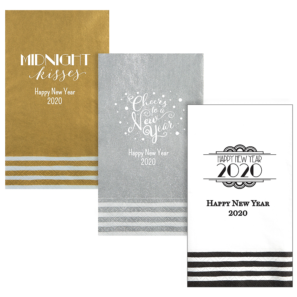 Personalized New Year's Stripe Border Guest Towels Image #1