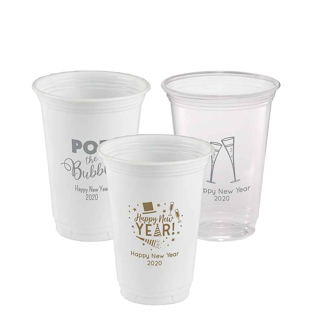 Personalized New Year's Plastic Party Cups 16oz Image #1