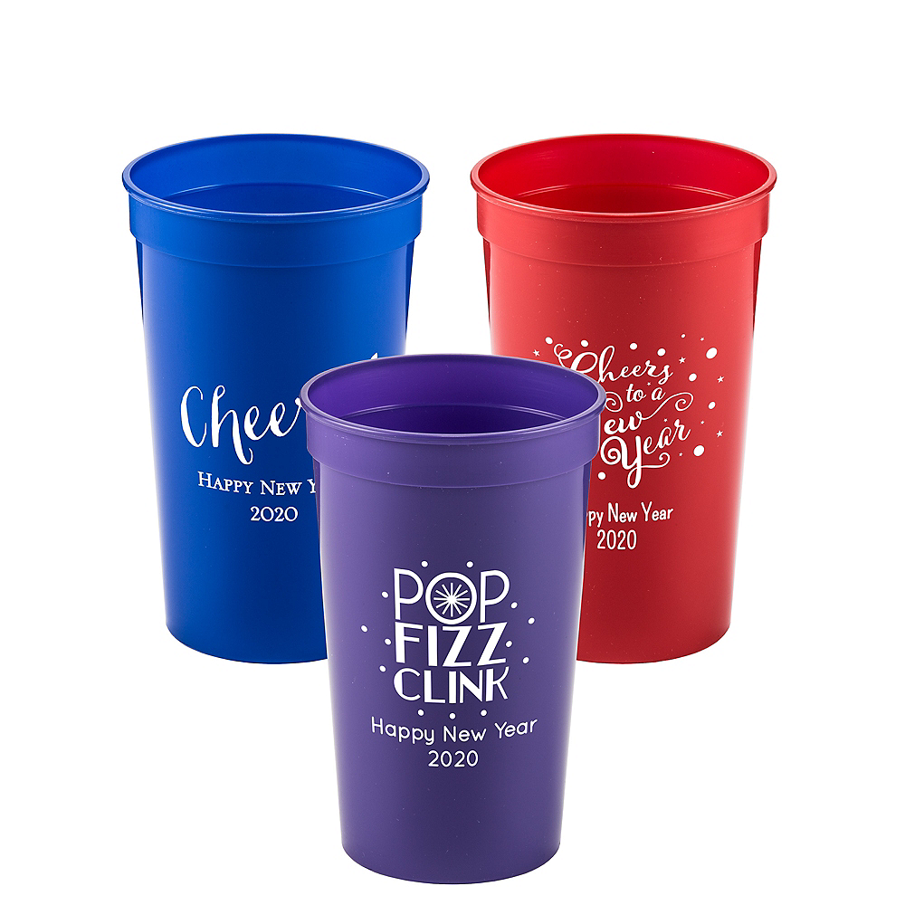 Personalized New Year's Plastic Stadium Cups 22oz Image #1