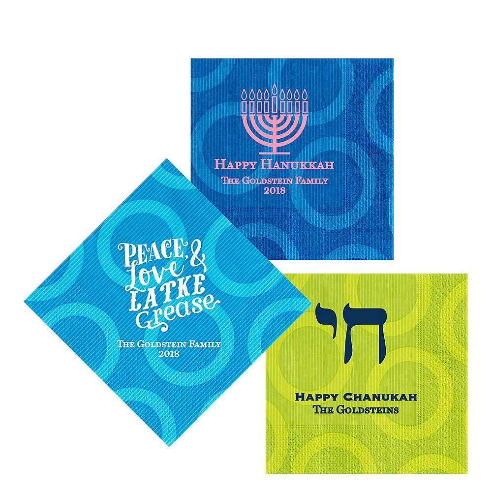 Personalized Hanukkah Circles Lunch Napkins Image #1