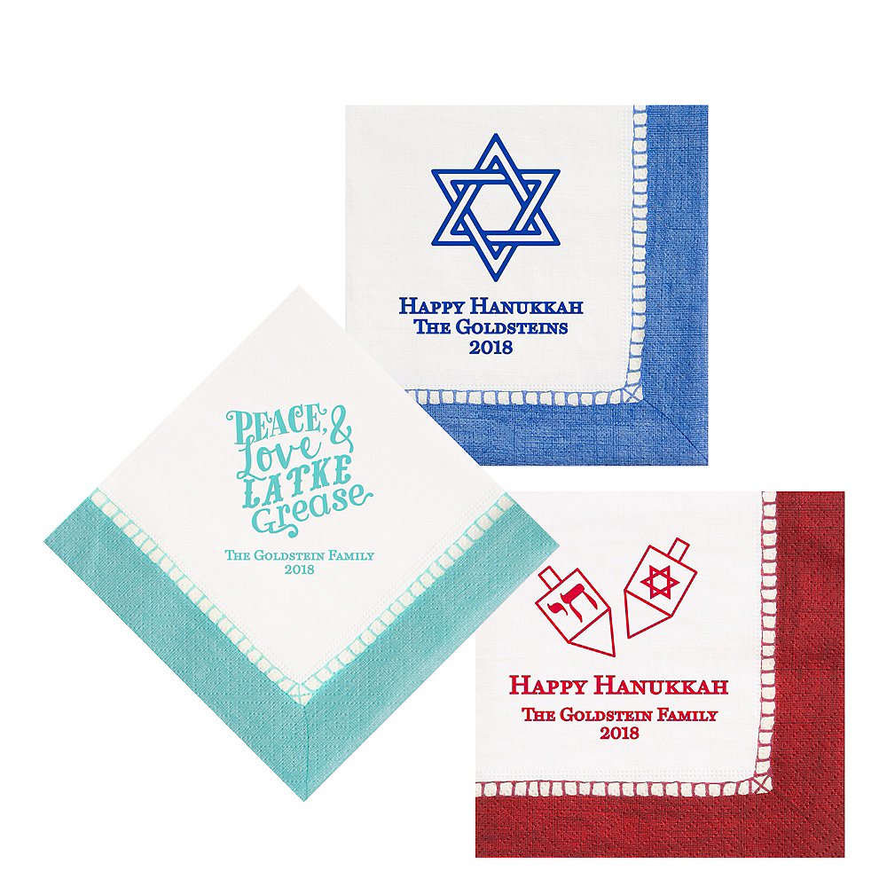Personalized Hanukkah Bordered Lunch Napkins Image #1