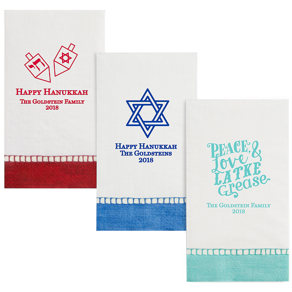 Personalized Hanukkah Bordered Guest Towels Image #1