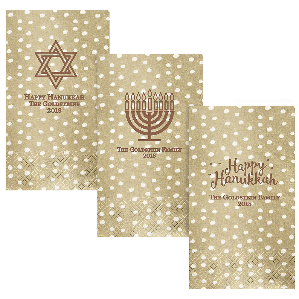Personalized Hanukkah Small Dots Guest Towels Image #1