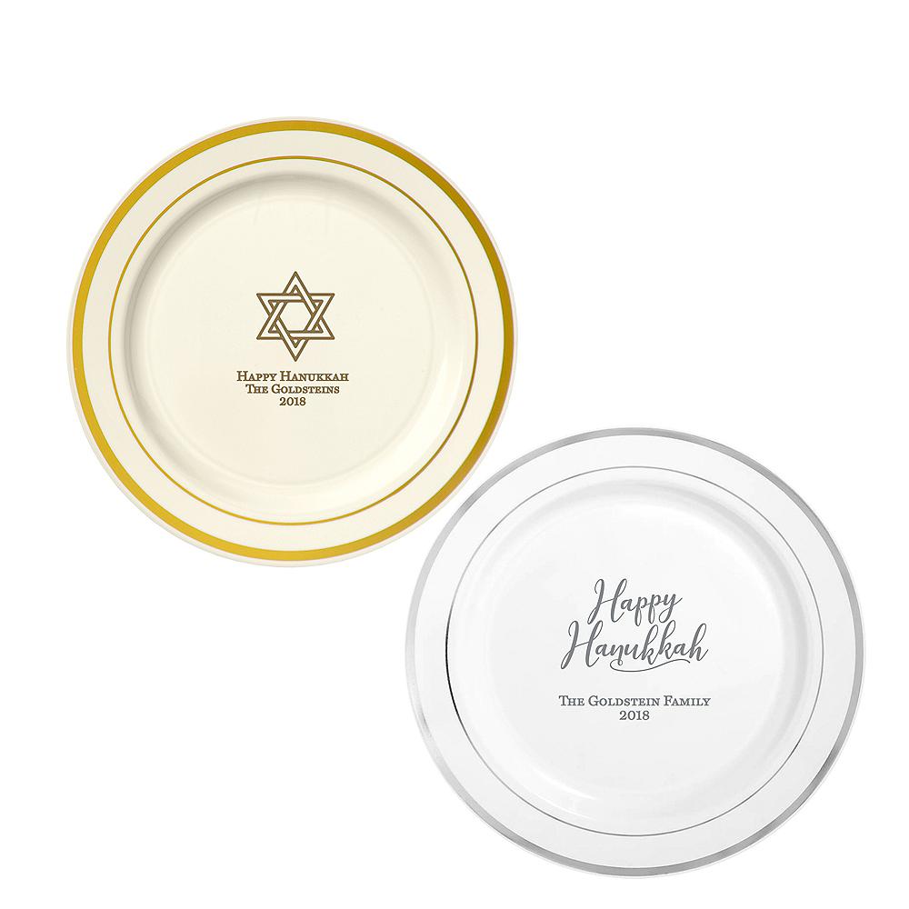 Personalized Hanukkah Trimmed Premium Plastic Dinner Plates Image #1