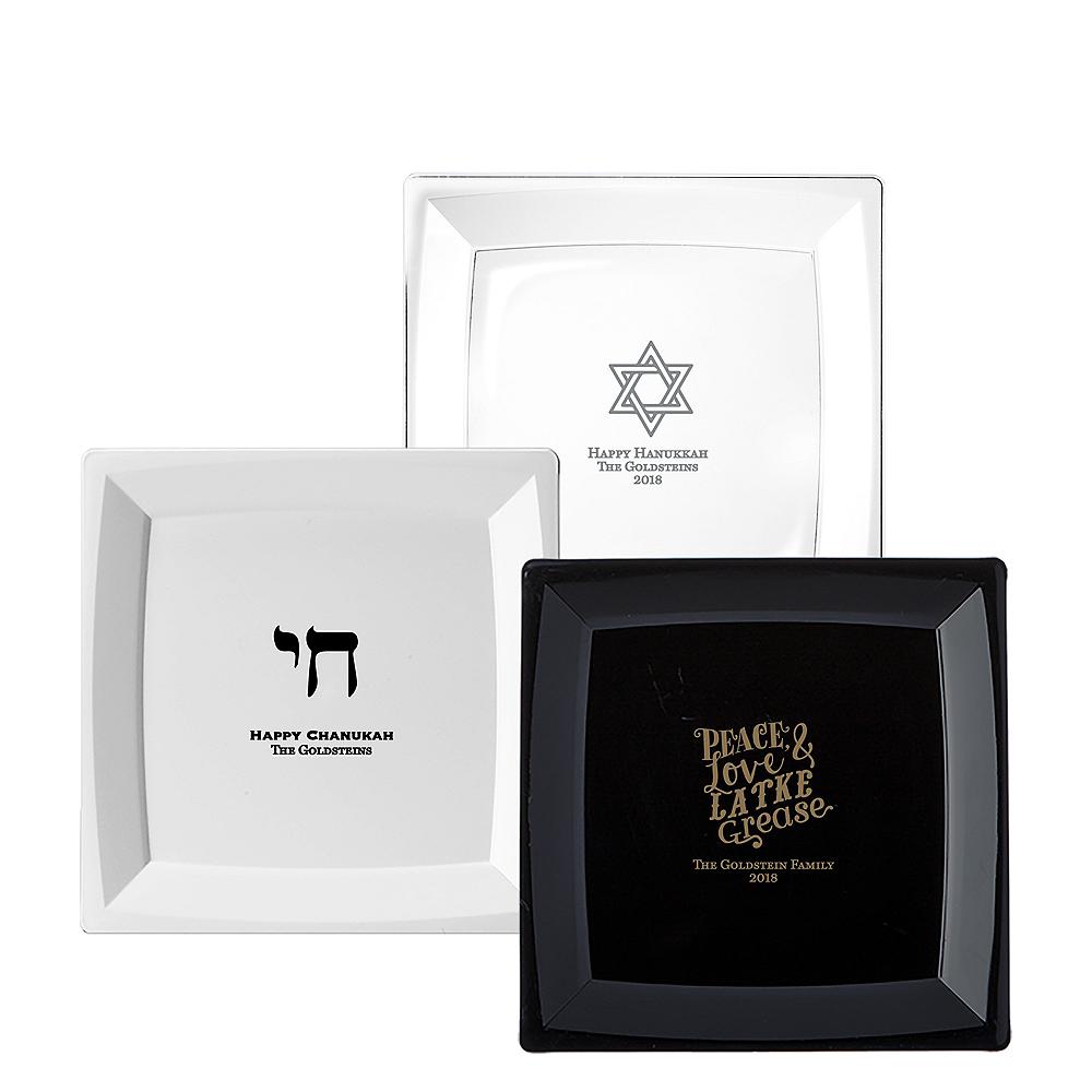 Personalized Hanukkah Premium Plastic Square Dinner Plates Image #1