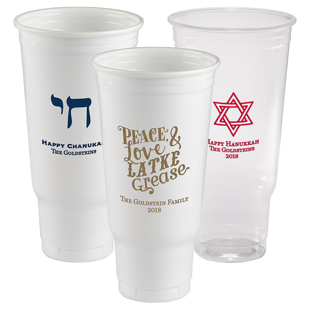 Personalized Hanukkah Plastic Party Cups 44oz Image #1