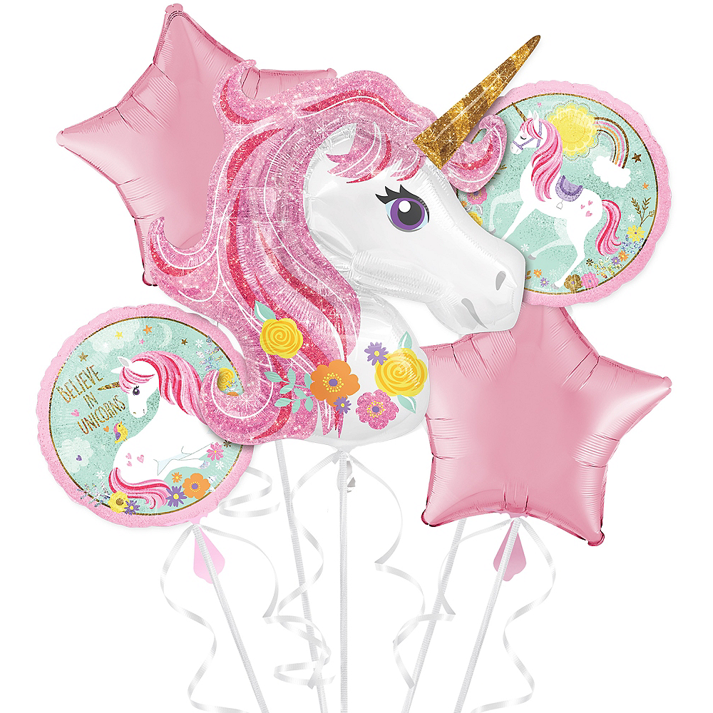 See All Unicorn Party Supplies Magical Balloon Bouquet 5pc Image 1