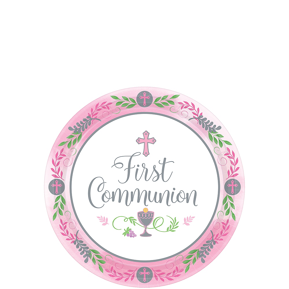Girl's First Communion Dessert Plates 18ct Image #1