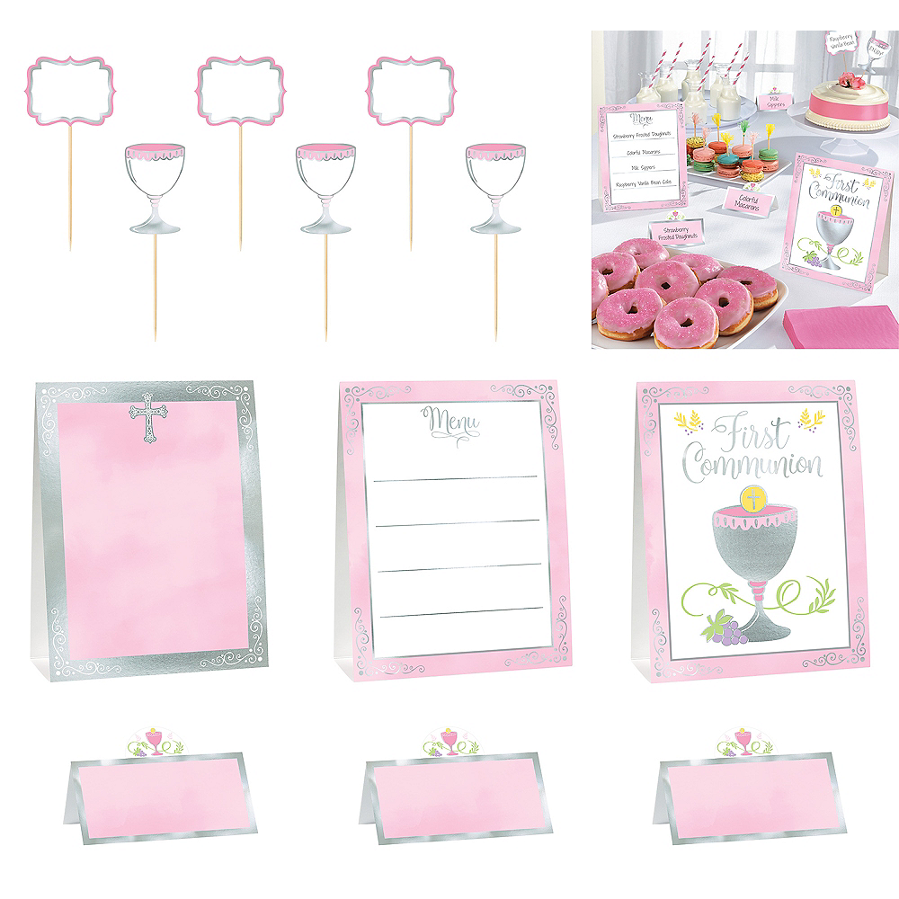 Metallic Girl's First Communion Buffet Decorating Kit 12pc Image #1