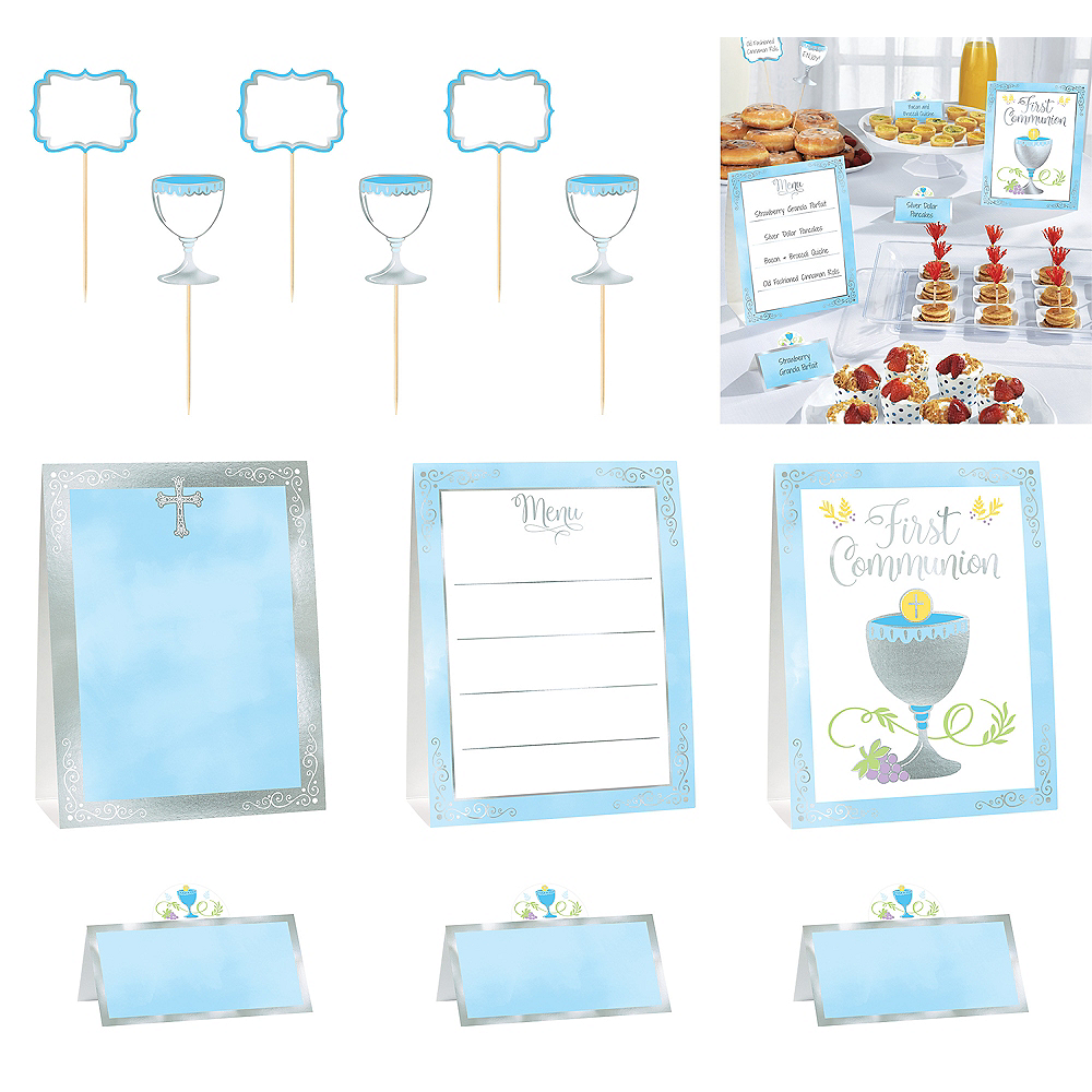 Nav Item for Metallic Boy's First Communion Buffet Decorating Kit 12pc Image #1