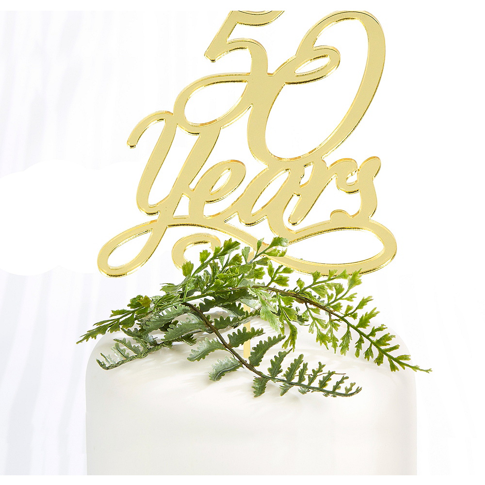 Gold 50th Anniversary Cake Topper 4 1/4in x 6 3/4in Image #1