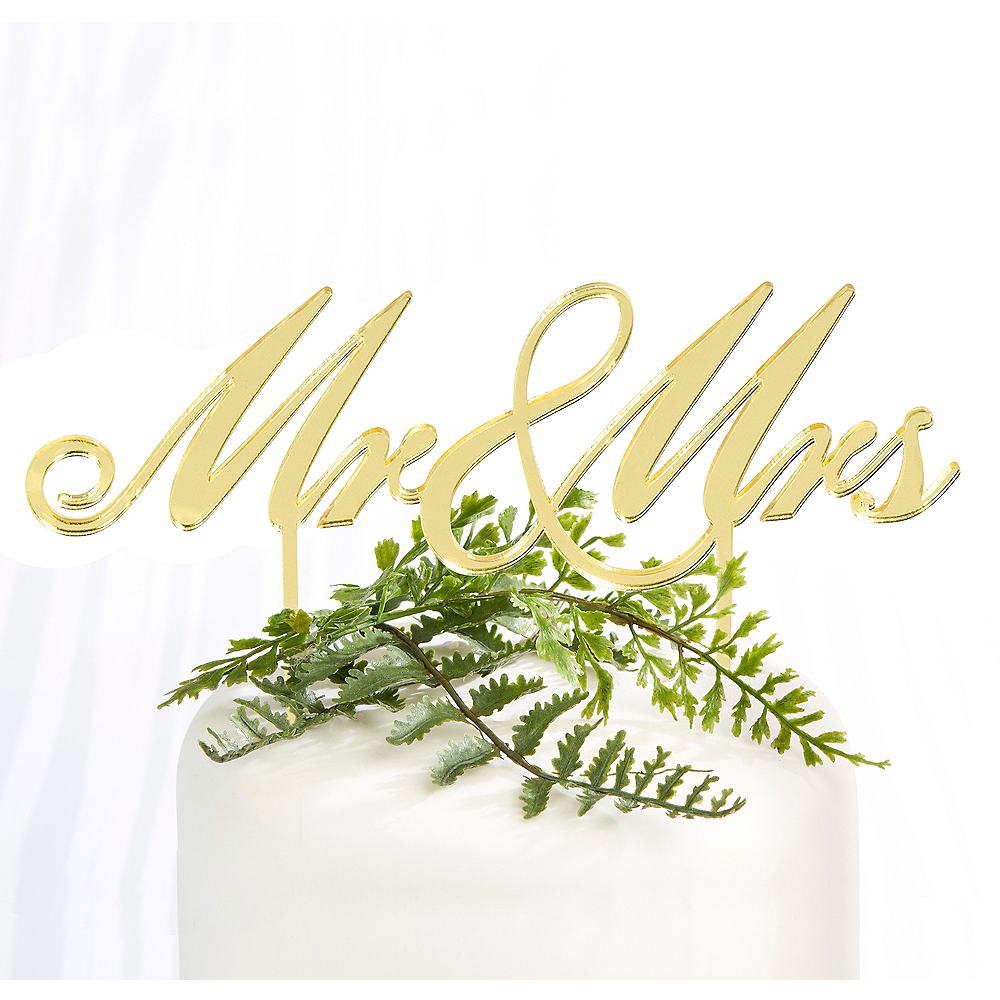 Gold Mr. & Mrs. Wedding Cake Topper 6 1/2in x 6 1/2in | Party City