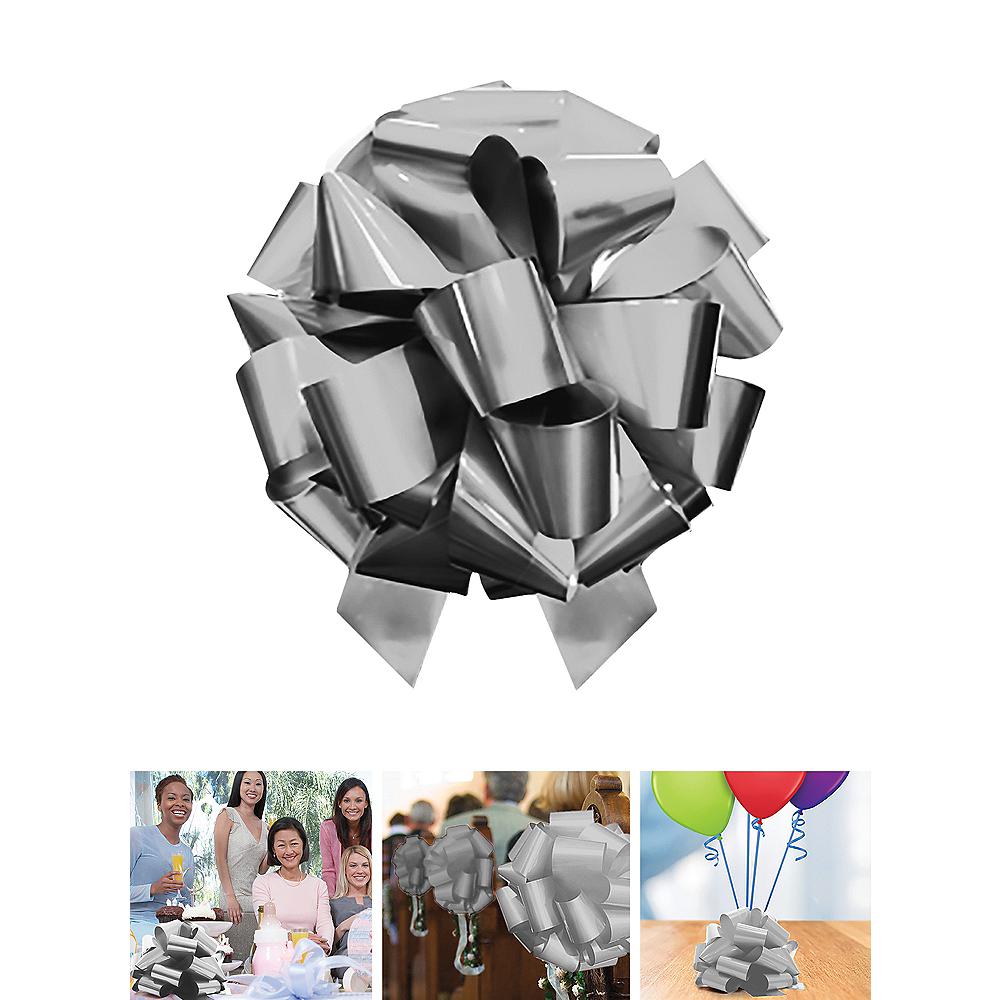 Large Metallic Silver Gift Bow Image #1