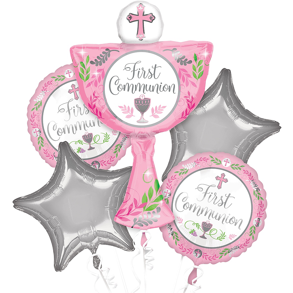 Girl\'s First Communion Balloon Bouquet 5pc | Party City