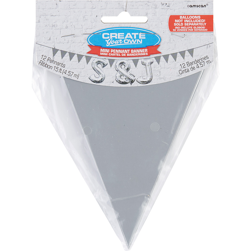 Mini Create Your Own Silver Pennant Banner Image #1