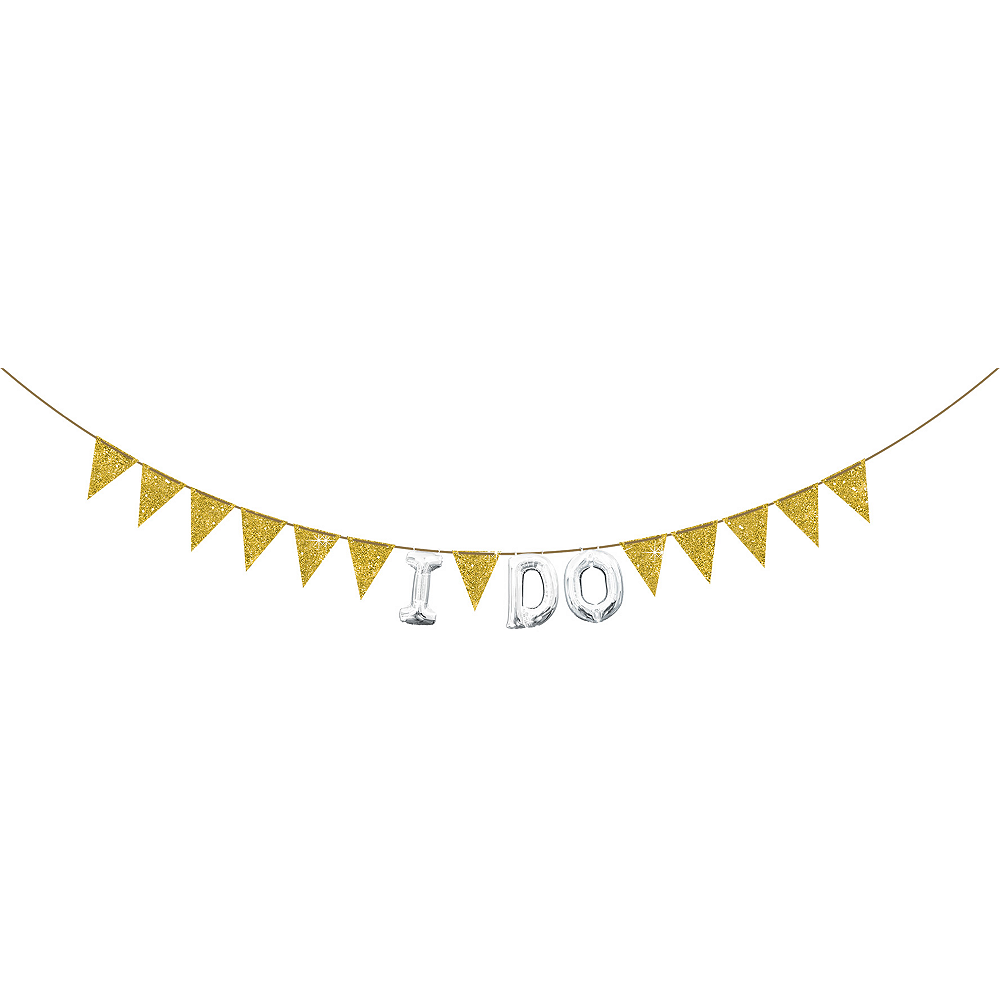 Create Your Own Glitter Gold Pennant Banner Image #2