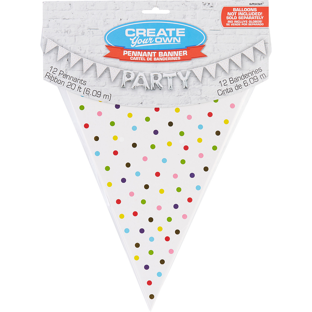 Create Your Own Rainbow Polka Dots Pennant Banner Image #1