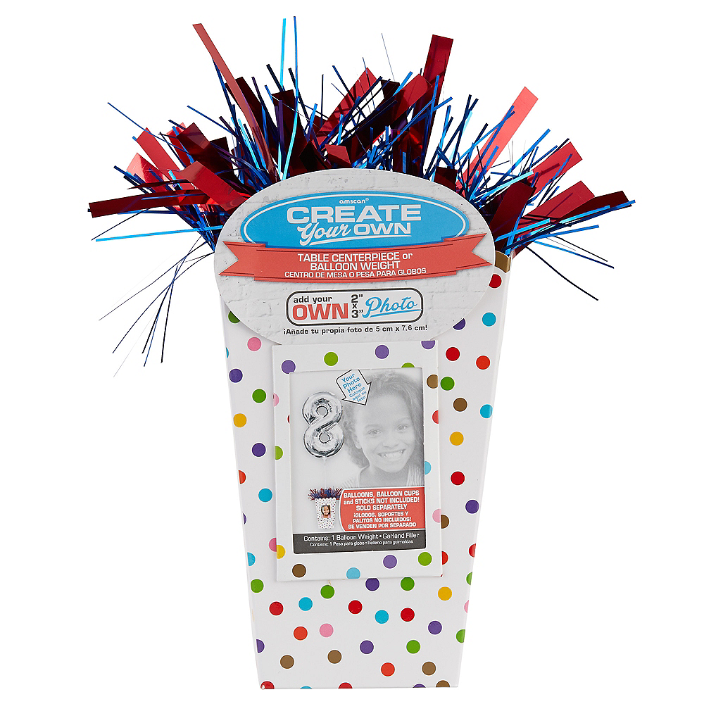 Create Your Own Rainbow Polka Dots Balloon Weight Centerpiece Image #1
