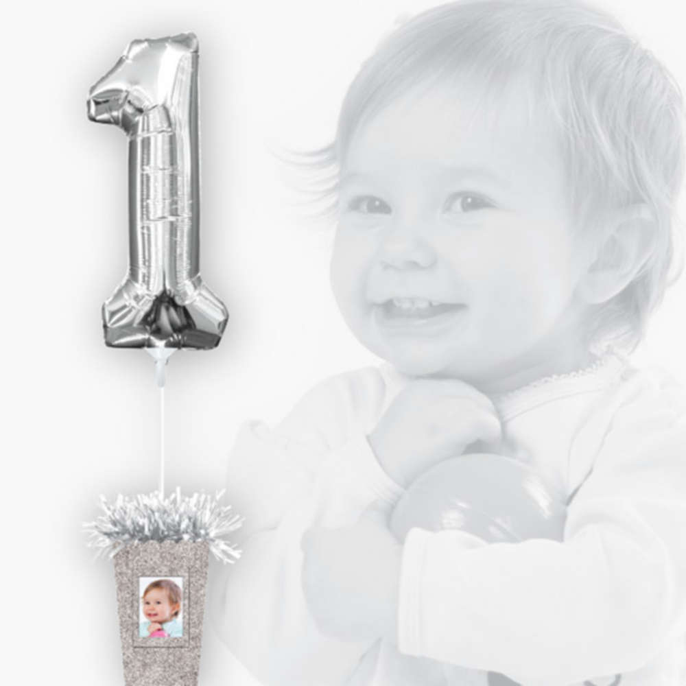 Create Your Own Glitter Silver Balloon Weight Centerpiece Image #2