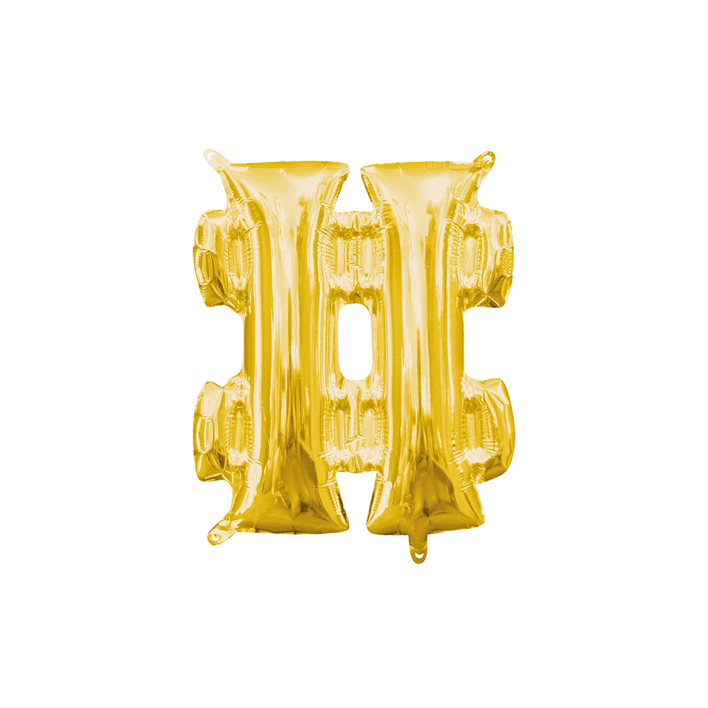 Air-Filled Gold Hashtag Balloon Image #1