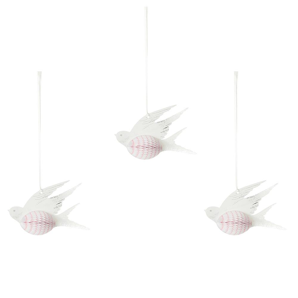 White Dove Honeycomb Decorations 3ct Image #1