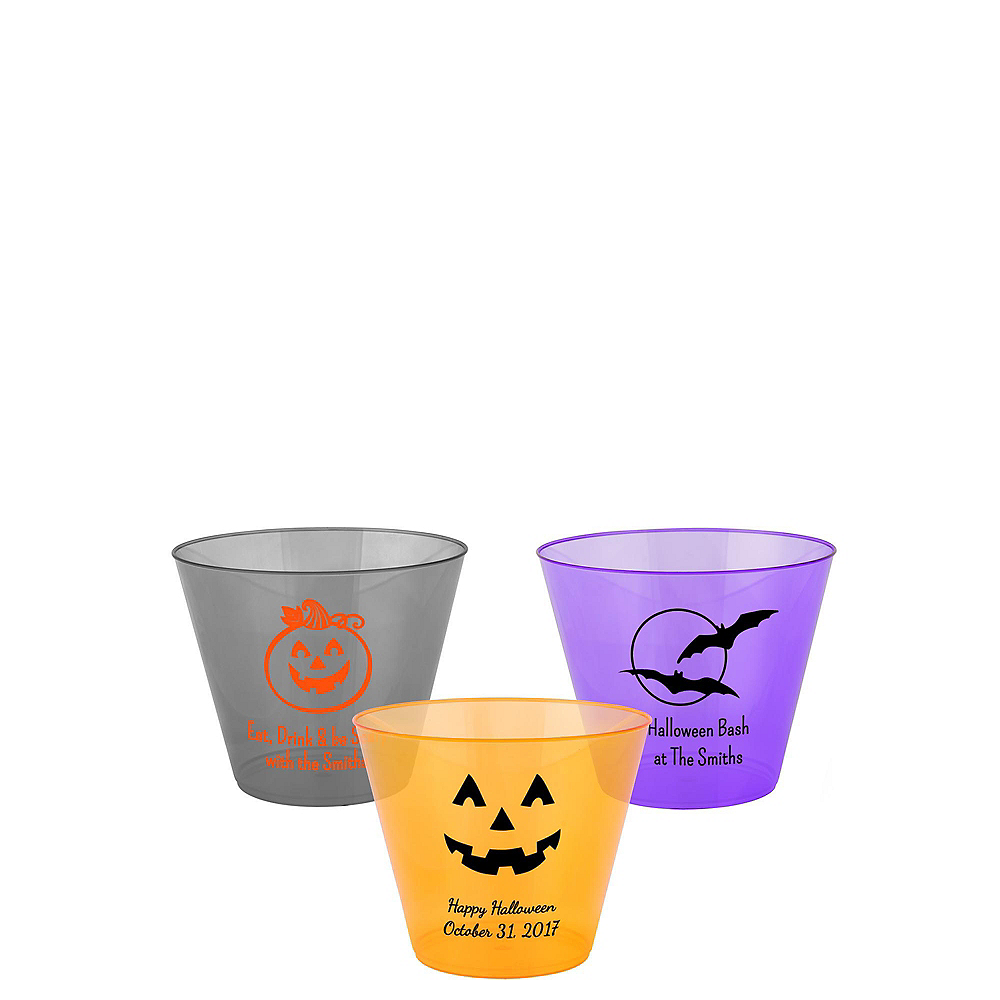 Personalized Halloween Hard Plastic Color Cups 9oz Image #1