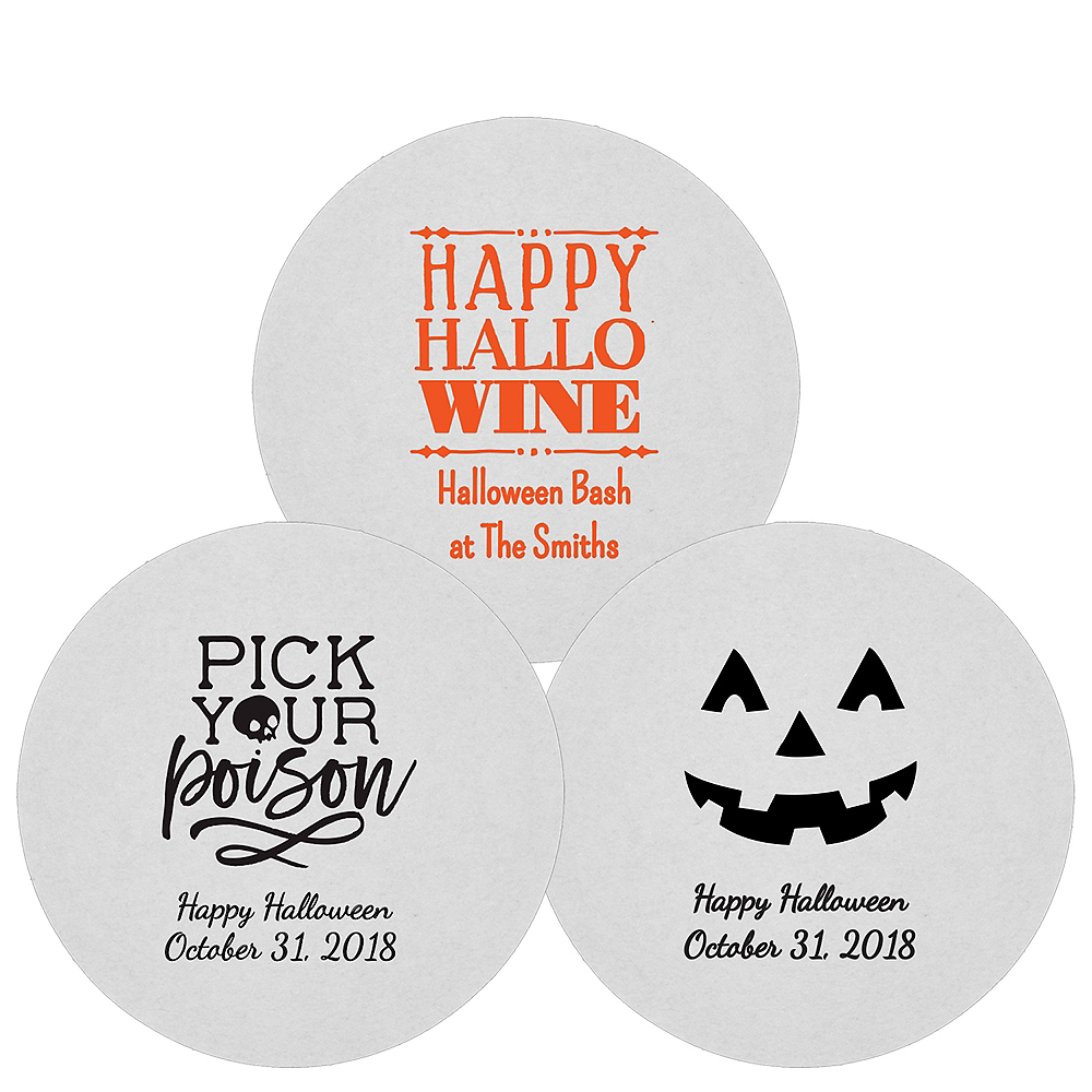 Personalized Halloween 80pt Round Coasters Image #1