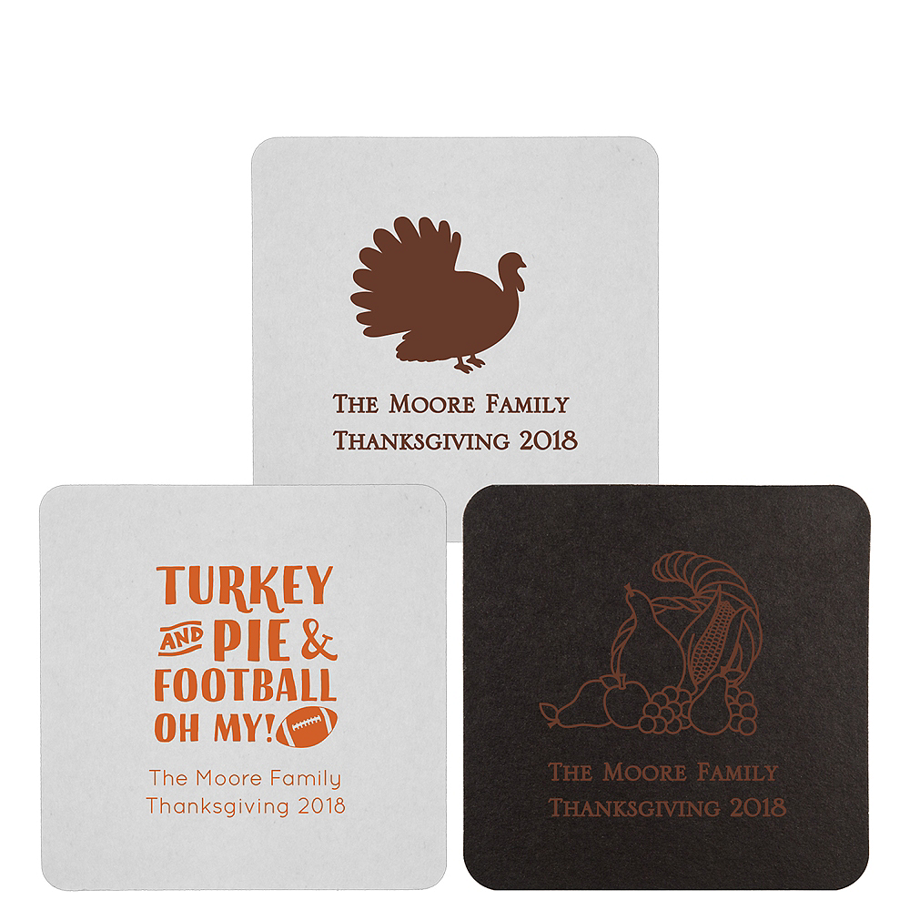 Personalized Thanksgiving 40pt Square Coasters Image #1