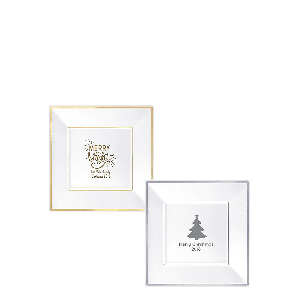 Personalized Christmas Premium Square Trimmed Dessert Plates Image #1