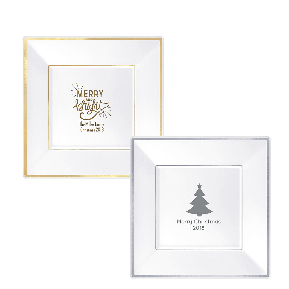 Personalized Christmas Premium Square Trimmed Dinner Plates Image #1