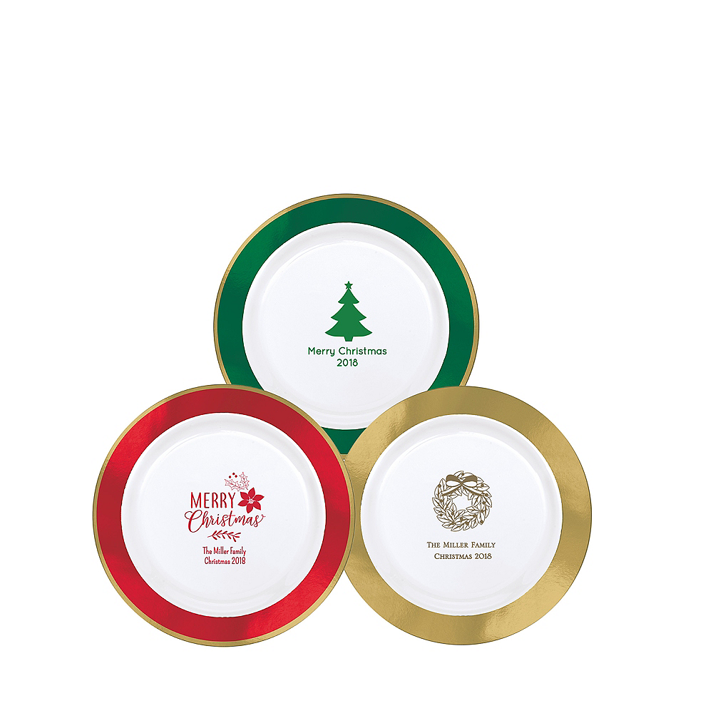 Personalized Christmas Premium Round Trimmed Dessert Plates Image #1
